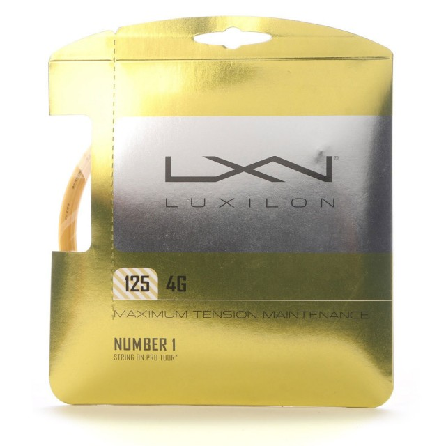 LUXILON 4G 125 / 130【定価】¥2,900(+税)    ※販売価格とは異なります。【カラー】ゴールド【構造】モノフィラメント【太さ】1.25㎜/1.30㎜抜群のテンション維持性能で、パワーと初期の打球感を長時間維持する次世代ポリストリング。※ロールでの販売も出来ます。